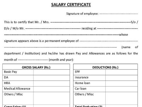 Hss Security Salary by Salary Certificate Format Mala Co In