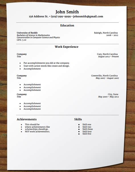 Where Should I Put Awards On My Resume by Free Your Resume Entry Level Resume Merriweather