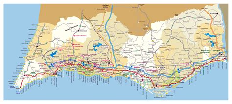 large detailed road map  algarve  cities