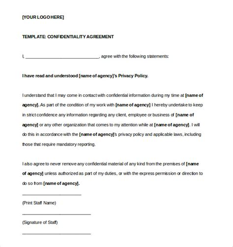 printable confidentiality agreement contract templates