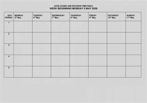 timetable template awesome blank revision timetable template pdf 2 landscape format a4 1 page monday to 2018