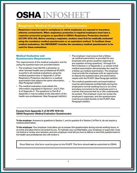 osha respirator medical evaluation questionnaire form  form resume examples govlgeeyva