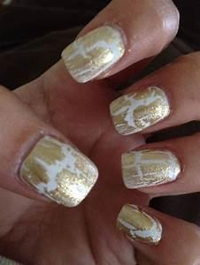 white nail polish and gold crackle   Nail, Nails, Nail ...