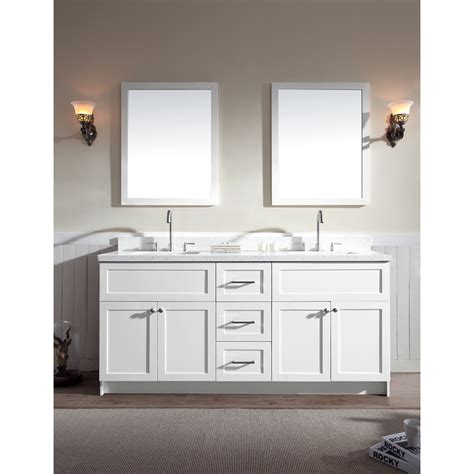 ariel hamlet  double sink vanity set  white quartz