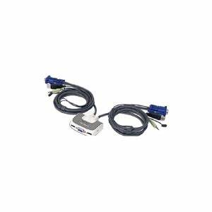 2port usb compact kvm switch w built in 6ft cable audio With 3 way kvm switch