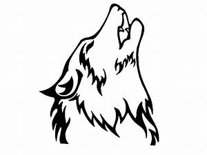 Wolf Howling At The Moon Drawing Black And White Face ...