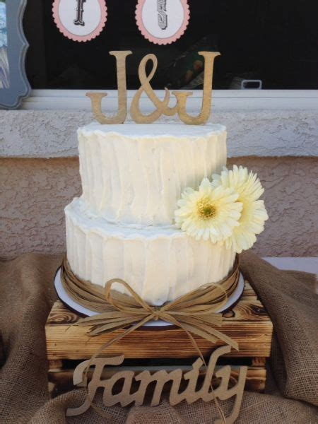 2 Tier Rustic Wedding Cake With Rafia Border By Frost It