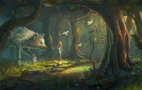 fantasy art wolf forest wallpapers hd desktop