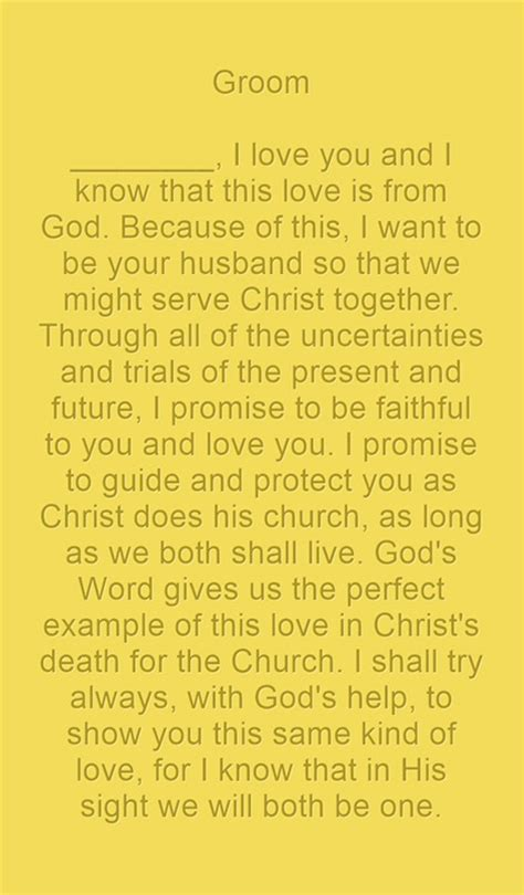 christian wedding vows examples  groom  bride