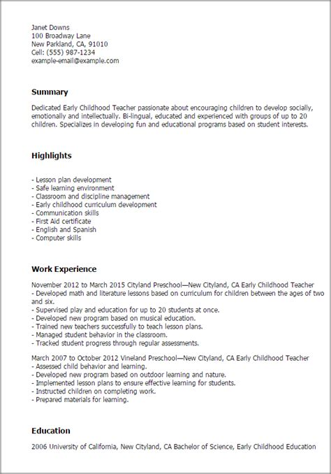 early childhood teacher resume template  design