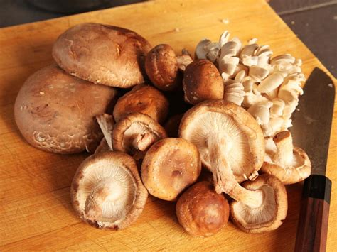 clean shiitake portobello  oyster mushrooms