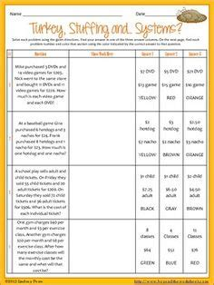 word problem thanksgiving worksheets festival collections