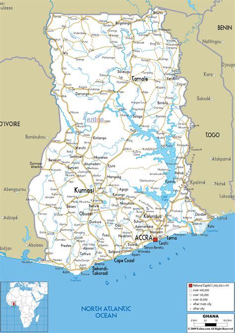 detailed clear large road map  ghana ezilon maps
