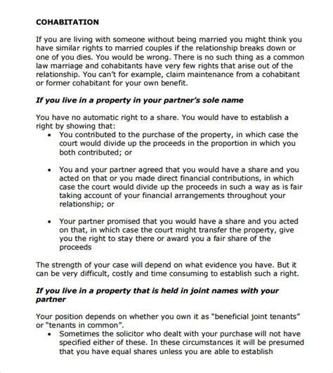 cohabitation agreement samples   ms word