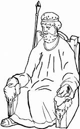 Coloring King Samuel Throne Pages Drawing Saul Netart sketch template