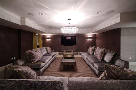purple sofas transitional basement blue water home