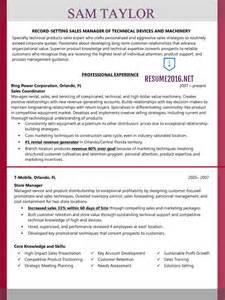 best resume format sles for 2016 sales manager resume exle