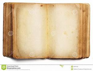 Old Book Open Blank Pages, Empty Paper Isolated On White ...