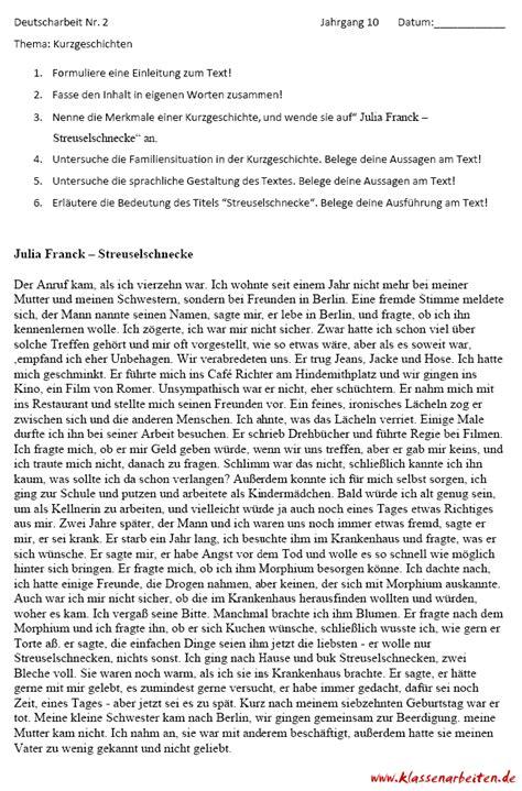 kurzgeschichten deutsch  klasse klassenarbeit mit