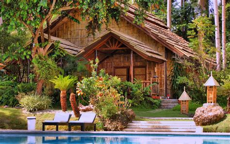 chambre cottage arbres magnifique piscine plantes fonds d 39 écran de fond