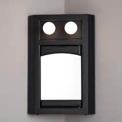 lighted corner medicine cabinet with mirror black