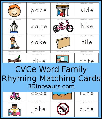dinosaurs cvce word family rhyming matching cards