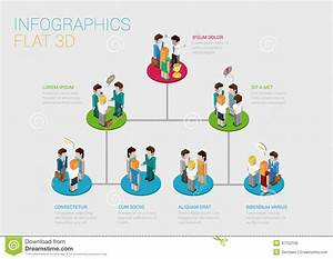 Flat 3d Isometric Web Infographic Organization Chart Concept Stock Vector