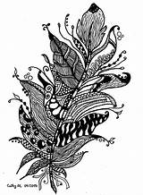 Coloring Zentangle Feather Adults Adult Printable Flowers Cathym Fancy Vegetation Flower Exclusive Difficult Cat Owl Nature Feathers Lines Colouring Bouquet sketch template