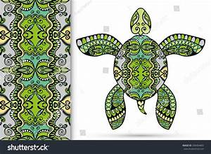 Decorative Green Turtle With Ornament And Seamless Floral ...