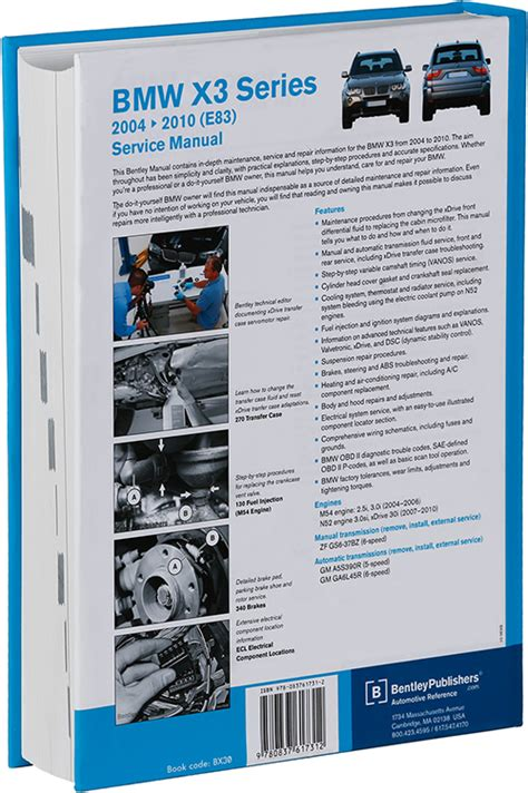 free online car repair manuals download 2010 bmw x6 electronic valve timing back cover bmw x3 e83 2004 2010 repair information bentley publishers repair manuals and