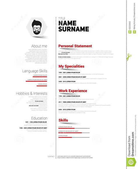 Simple Design Resume by Cv Simple Bw Stock Illustration Image 63233050