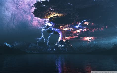volcano eruption lightning ultra hd desktop background