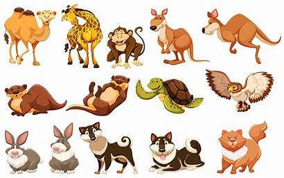 Different Animals Types Vector Illustration Clipart Wild