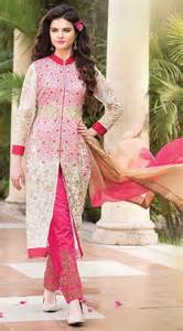 buy wedding dress online stylish white and pink georgette parallel pant suit which