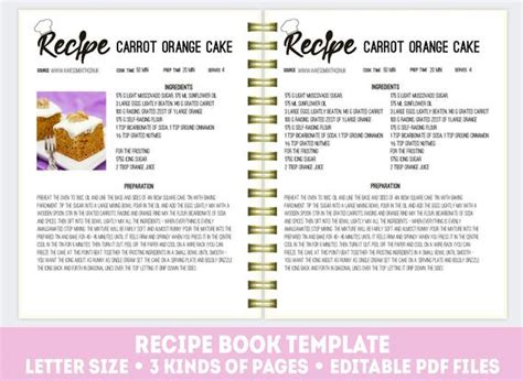 editable recipe book cookbook template recipe binder kit