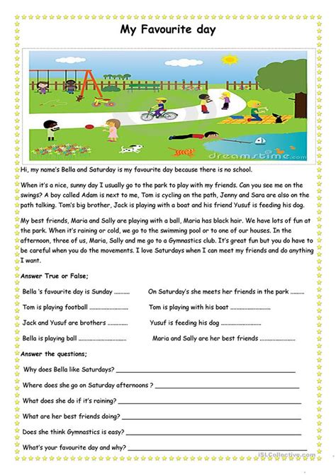 favourite day worksheet  esl printable worksheets
