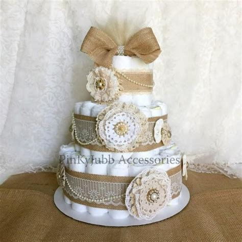 tier rustic shabby chic burlap diaper cake shower gift