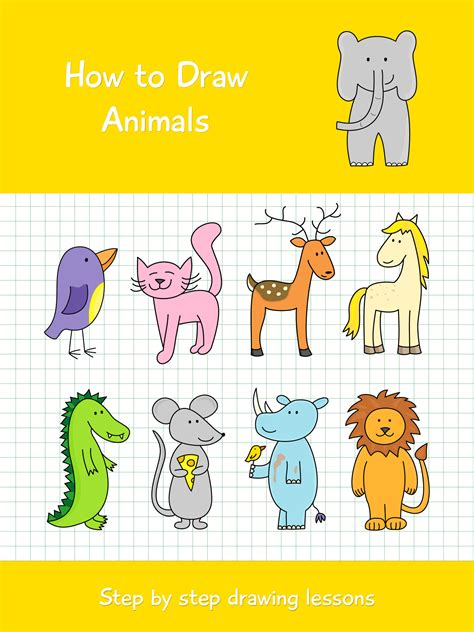 draw animals step  step drawing lessons
