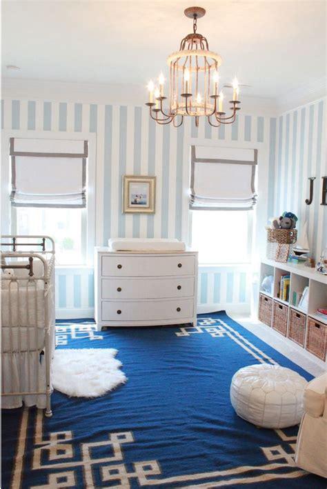 blue  white stripe wallpaper   babys room classic