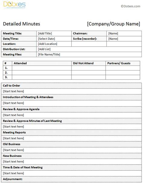 meeting minutes template sle of minutes of meeting descriptive format dotxes