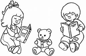 Reading Book Coloring Page - Coloring Home