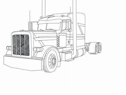 Peterbilt Coloring Semi Truck Drawing Trucks Kenworth