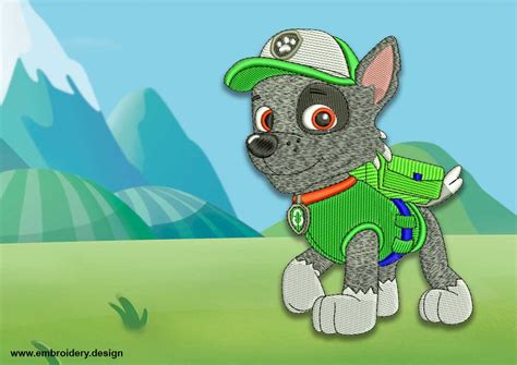 Cute Dog Rocky From Paw Patrol Embroidery Design