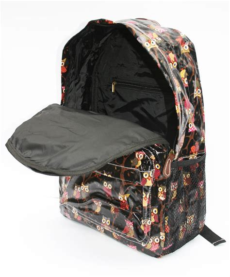 owl backpack black  suzielou textiles