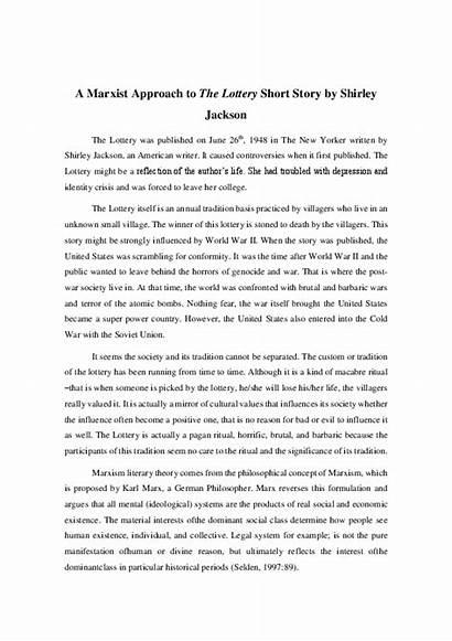 Lottery Story Short Shirley Jackson Marxist Approach