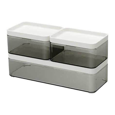 Bathroom Tray Ikea by Box Set Of 3 Brogrund Transparent Gray White In 2019