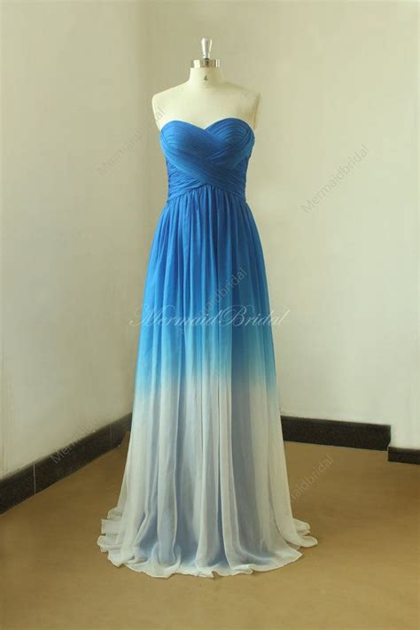 royal blue ombre tencel weddin dress from royal blue to