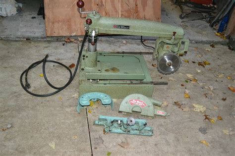 Vintage Amf Dewalt Radial Arm Saw With Extra Attachments
