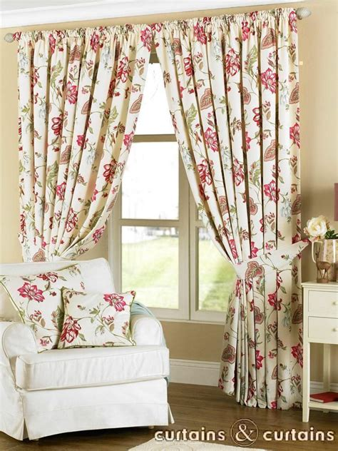 louise cream fuchsia vintage floral curtains floral