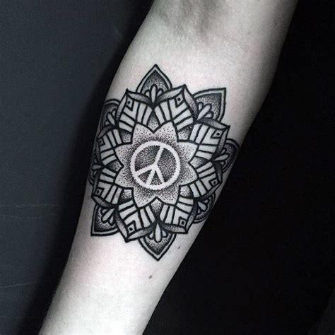 peace sign tattoos  men symbolic ink design ideas